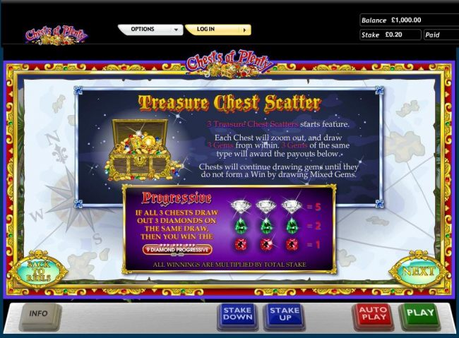 3 Treasure Chest scatters starts the feature.