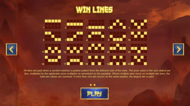 Payline Diagrams 1-40. All wins are paid when a symbol matches a payline pattern from the leftmost side of the reels.