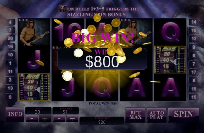 The bonus feature pays out a total of $800 for a big win!