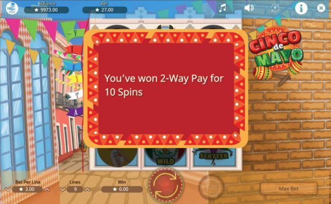 2-Way Pay feature activated for 10 spins
