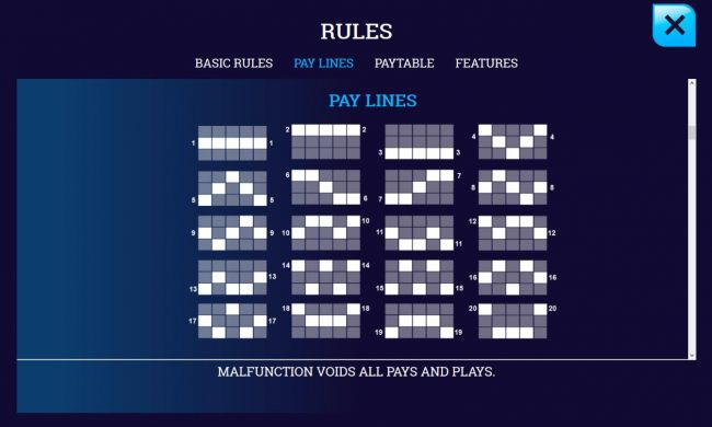 Pay Lines 1-20