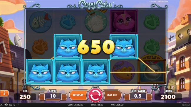 Blue cat symbols triggers a 650 coin payout.