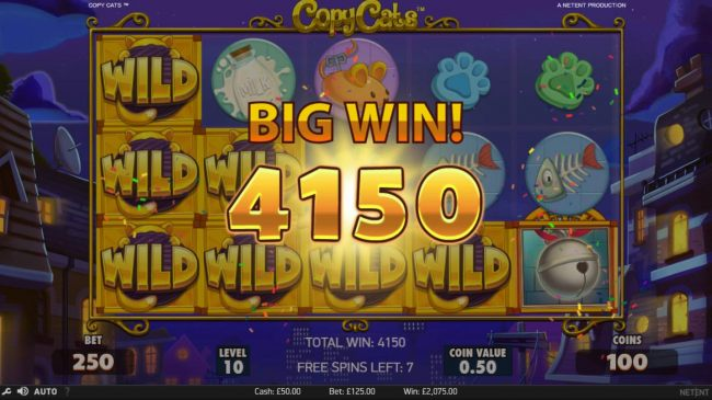 Copy Cats Wild Feature triggers a 4150 coin big win during the free games feature.