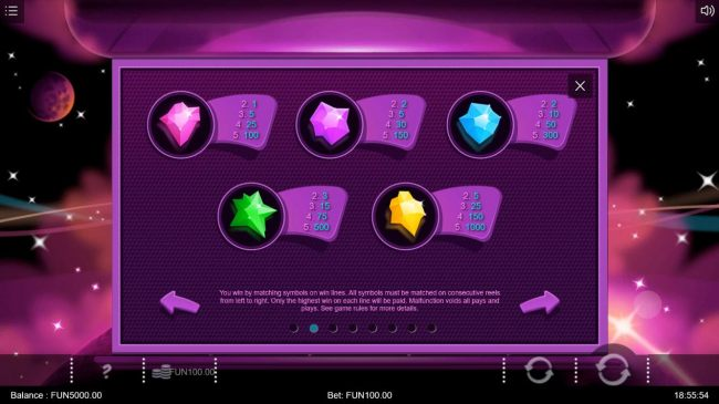 High value slot game symbols paytable featuring crystal rock themed icons.