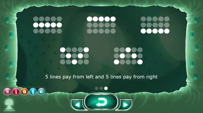 Payline Diagrams 1-10 Five lines pay from the left and five lines pay from the right.