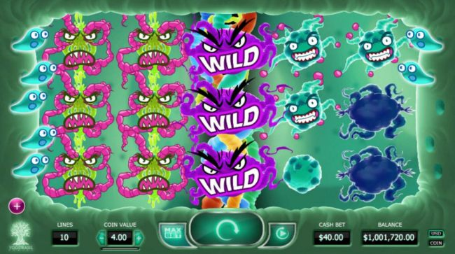Expanding wild on 3rd reel triggers multiple winning paylines and a big win