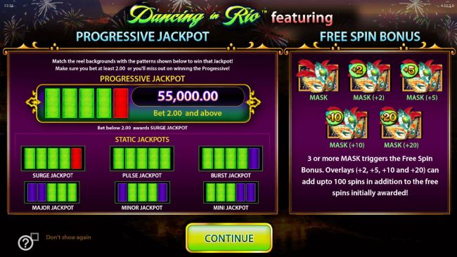FEATURES INCLUDE A PROGRESSIVE JACKPOT AND FREE SPINS.