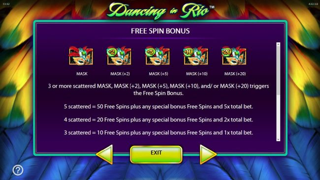 3 or more scattered mask symbols triggers the free spins feature.