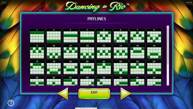 Payline Diagrams 1-32