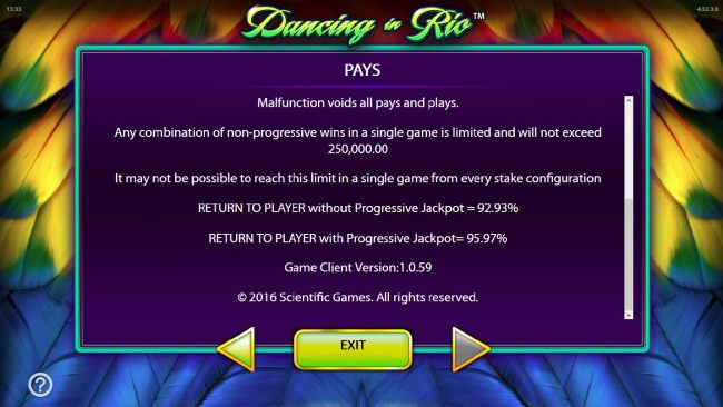 The theoretical return to Player RTP is 92.93% without progressive jackpot, 95.97% with progressive jackpot.