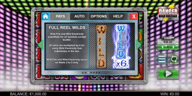 Full Reel Wilds - Wild Fire and Wild Electricity substitute for all symbols except scatter