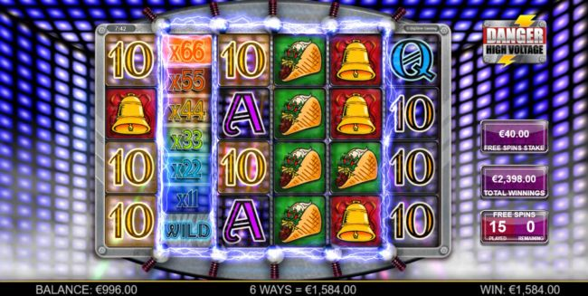 An x66 wild multipler triggers a 1,584.00 payout during the Free Spins bonus feature.