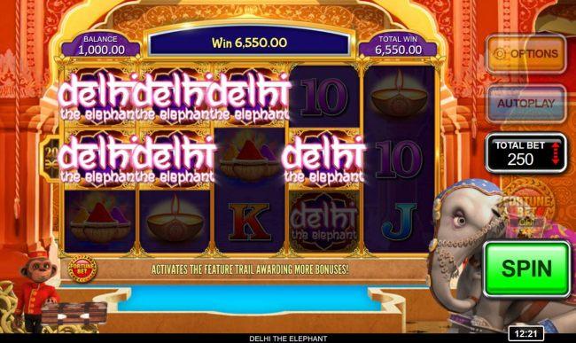Multiple winning paylines triggers a 6550 coin big win!