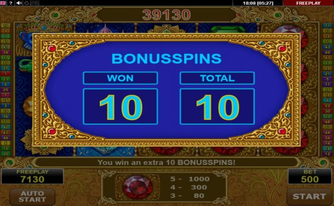 An additional 10 Free Spins awarded