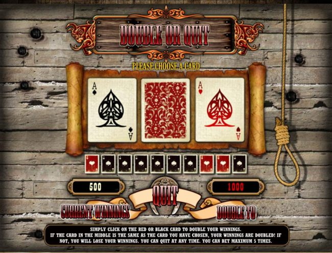 Gamble Feature Rules - The feature is available after each winning spin. Last win amount becomes your stake in the Gamble game. Your goal is to guess the color of the next card.