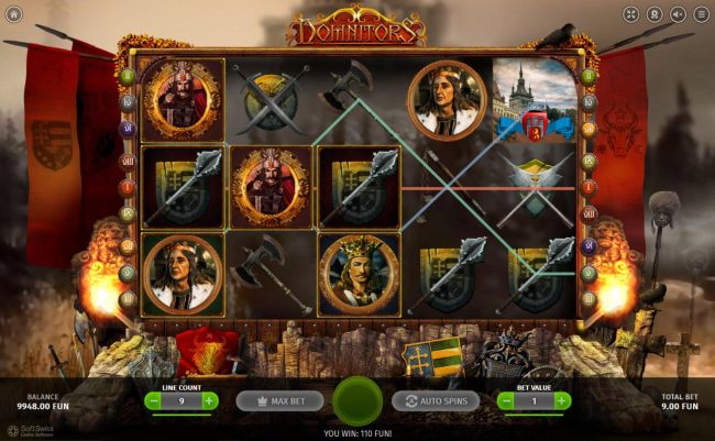 Wild symbols complete winning combinations leading to a 110 coin jackpot.