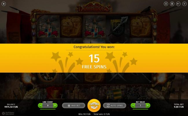 15 Free Spins awarded player.