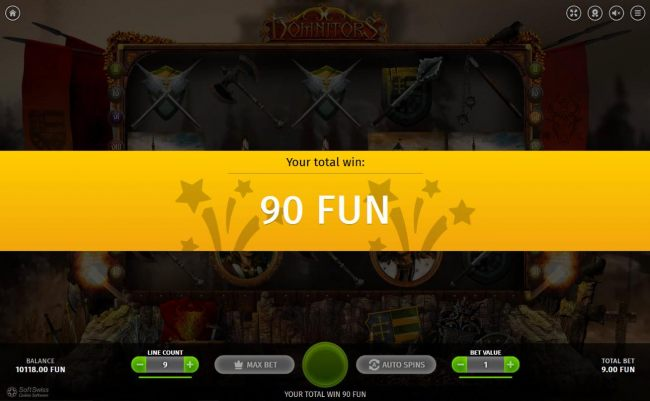 Free Spins feature pays out a total of 90 coins.