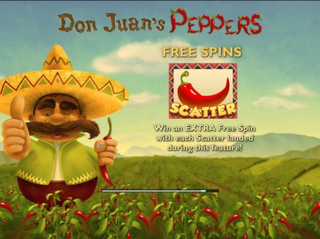 Game features include: Free Spins! Red chili pepper scatter, Win an extra Free Spin with each Scatter landed during this feature!