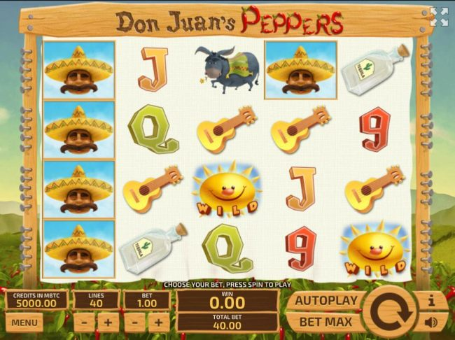 A Mexican Pepper Farmer themed main game board featuring five reels and 40 paylines with a $300 max payout