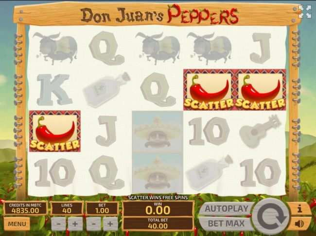 Three red chili pepper scatter symbols anywhere on the reels triggers the Free Spins bonus feature.