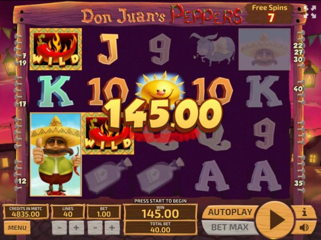 Multiple winning paylines triggers a 145.00 big win the free spins bonus feature!