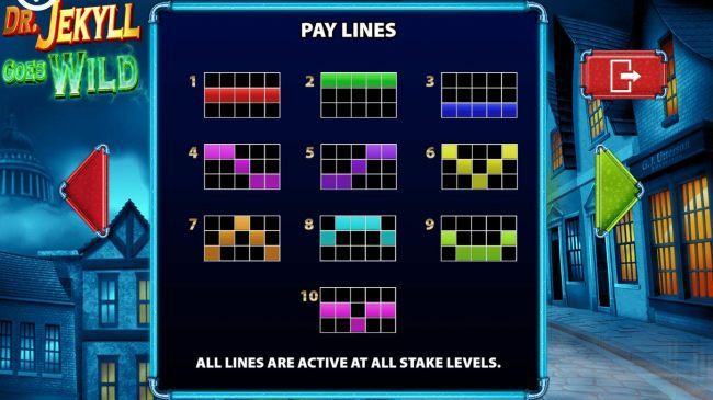 Pay Lines 1-10 All lines are active at all stake levels