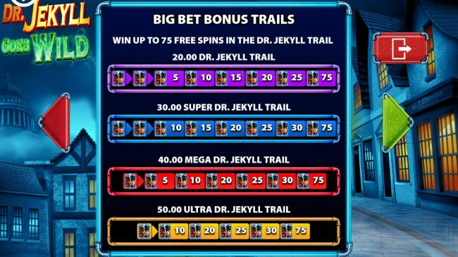 Big Bet Bonus Trails - Win up to 75 free spins in the Dr Jekyll Trail