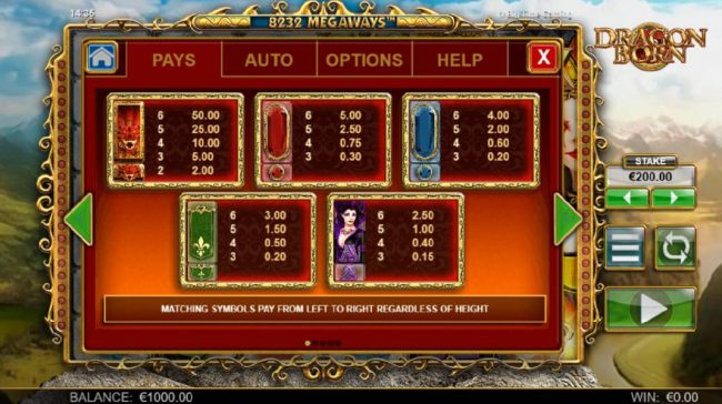 High value slot game symbols paytable. Matching symbols pay from left to right regardless of height.