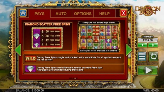 Diamond scatter free spins - 3 or more diamond scatter symbols awards from 6 to 50 free spins.