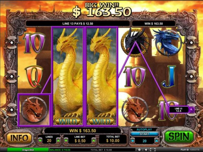 stacked wilds trigger a 163.50 coin jackpot payout