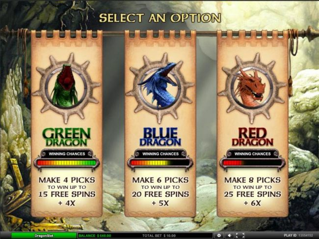 select an option for your free spins bonus