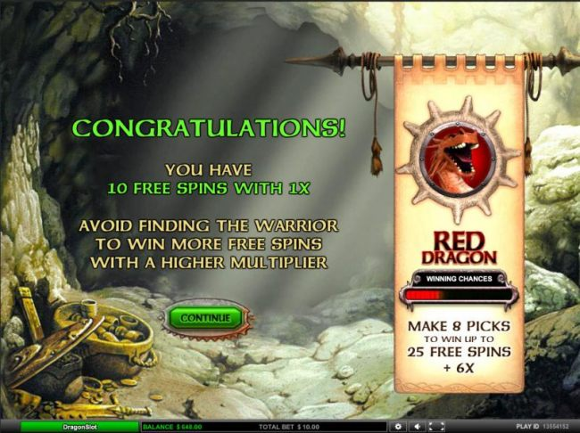 10 free spins with 1x. avoid finding the warrior to win more free spins with a higher multiplier