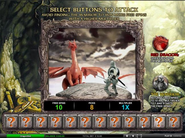 select buttons to attack, avoid finding the warrior to win more free spins with a higher multiplier