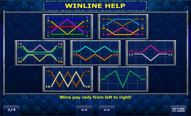 Payline Diagrams 1-20. Wins pay only from left to right.