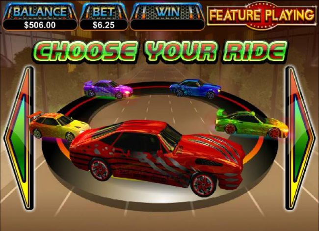 choose your ride from one of four colored cars