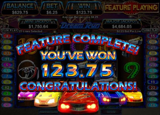 bonus feature completed with a 125 coin payout