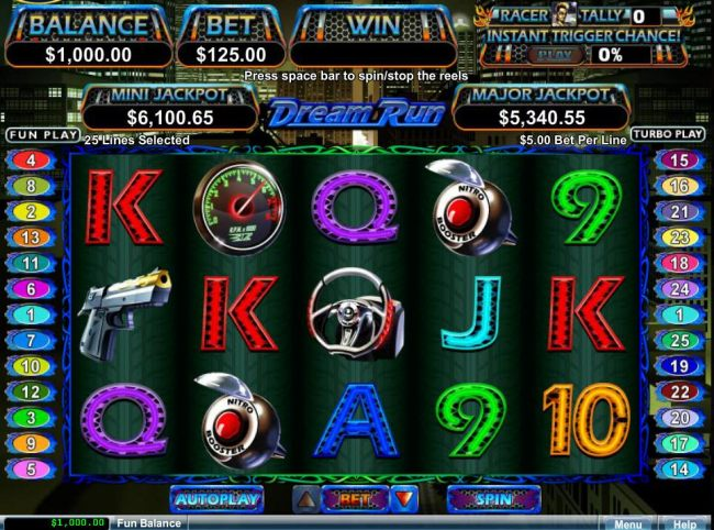 A car racing themed main game board featuring five reels and 25 paylines with a $50,000 max payout