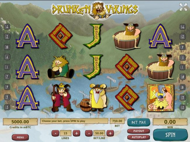 A Viking themed main game board featuring five reels and 15 paylines with a $500,000 max payout