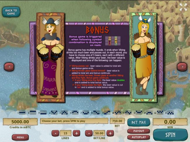Bonus Game Rules - Bonus game is triggered when both of the Beer Maids appear fully on reels 2 and 3.