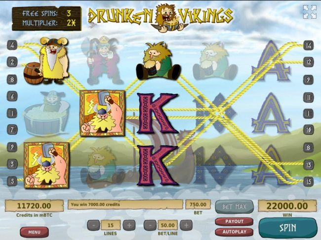 Another super win triggered by multiple winning paylines leading to a 7,000.00 jackpot