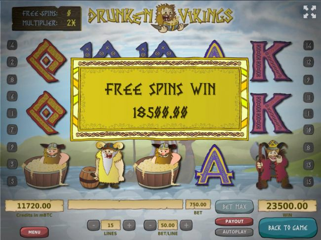 Free Spins feature pays out a total of 18,500.00!