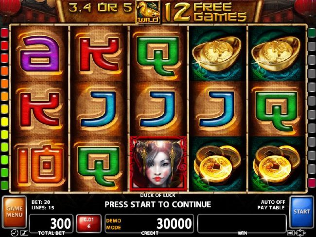An Asian themed main game board featuring five reels and 20 paylines with a $200,000 max payout