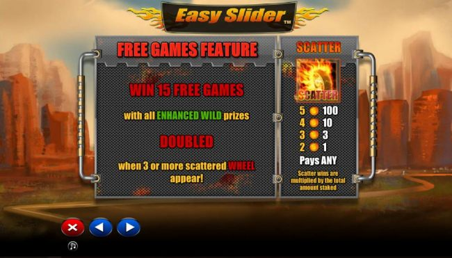 Free Game Feature - win 15 free games with all enhanced wild prizes doubled when three or more scattered wheel appear