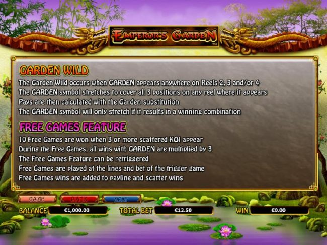 garden wild and free games feature rules