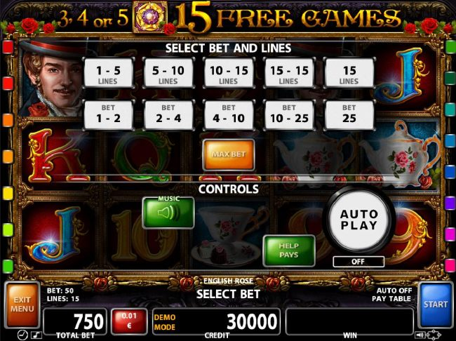 Select Bet and Lines - 1 to 15 Lines and 1 to 25 coins per line.