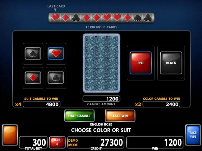 Double Up gamble feature is available after every winning spin. Select the correct color or suit for a chance to double your winnings.