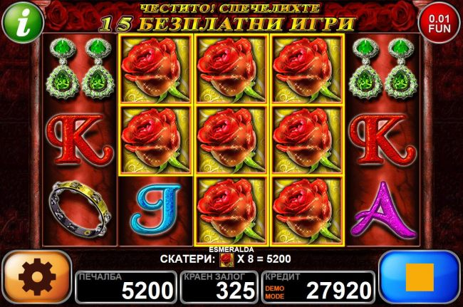 8 red roses triggers a 5200 coin payout and awards 15 free games.