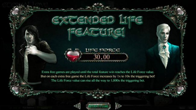 Extended Life Feature - Extra free games are played until total feature win reaches the Life Force value. But on each extra free game the Life Force increases by 1x to 10x the triggering bet. The Life Force value can rise all the way to 1,000x the trigger