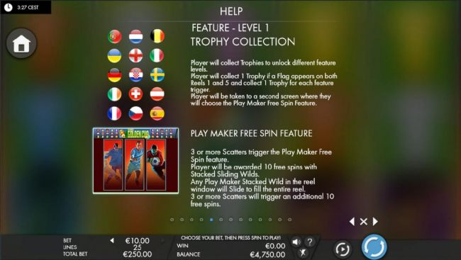Feature - Level 1 Trophy Collection Rules and Play Maker Free Spin Feature Rules.